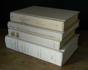 Shades of Cream Book Collection. Instant Library. White and Gold. Cottage Decor.