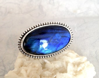 Silver Ring, Blue Labradorite, unique handmade gift, ready to ship