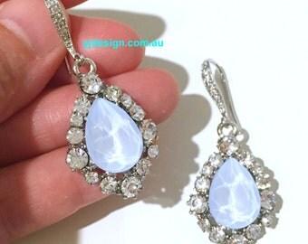 Something Blue Bridal Earrings, Teardrop Earrings, Drop Earrings, Bridesmaid Earrings, Swarovski Crystal Bridal Jewelry, Gift for Her BIJOUX