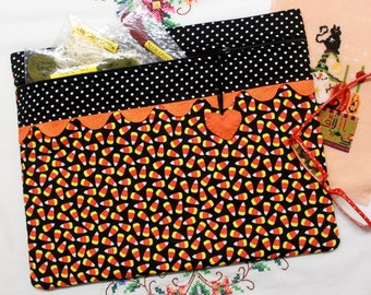 Glow in the Dark Candy Corn Cross Stitch Embroidery Project Bag