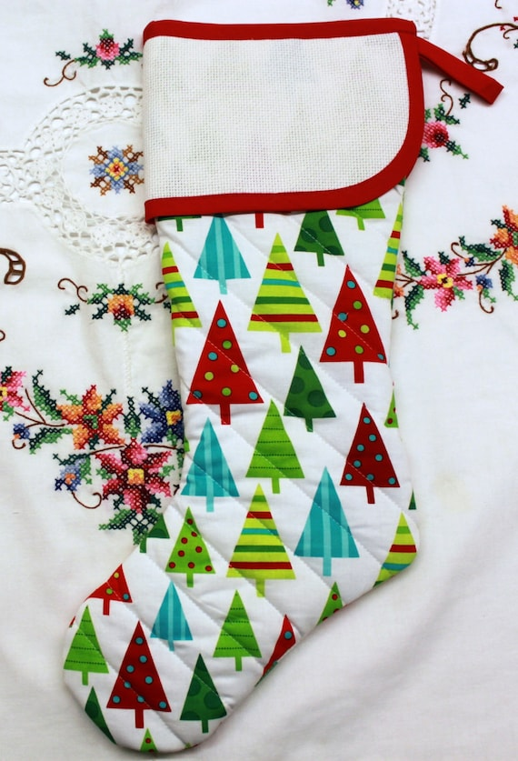 Modern Bright Trees Stitchable Quilted Cross stitch Christmas Stocking