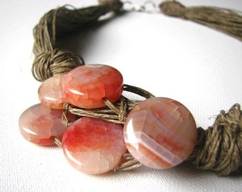Pink Agate-big linen necklace