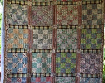 Pretty 1930's Block Patchwork Quilt Antique Vintage Textile ~ Loaded with Sweet Fabrics