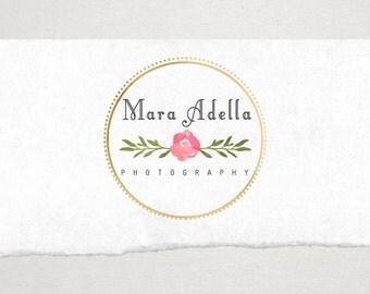 Premade Logo // Logo Design // Business Logo //  Photography Logo // Watercolor Logo // Floral Rose Circle Logo