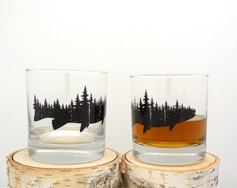 Fish and Forest Whiskey Glasses - Set of Two 11oz. Tumbler Glasses