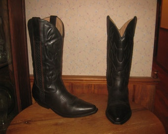 COLE  HAAN   Country     Black Leather    Western  Boots     Womens  9.5 M    Mens  8.5 M