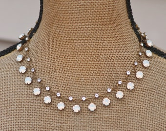 NEW Swarovski White Opal Rhinestone Tennis Necklace,UNIQUE Link Tennis Necklace,Rhinestone Choker Necklace,Drop,Bridal,Weddings,Crystal