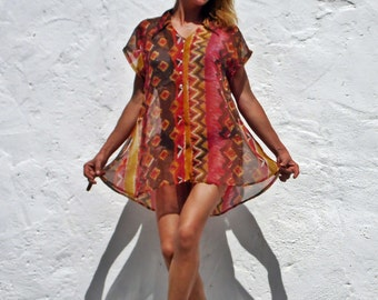 Sheer blouse sheer top see through top aztec print top hippie top boho top african print top orange terracotta red top beach top tunic top