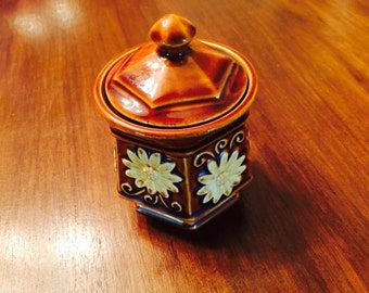 Vintage McCoy Hull Style Brown Drip Pottery Octagonal Sugar Bowl Jar with Lid Flowers 1960s