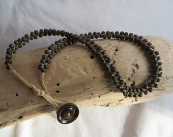 "16 1/2""  Seed Bead Necklace with Button Clasp"