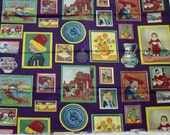 "Vintage Fabric, Unusual Blocks of Artists Paintings, Van Gogh, Renoir and More  36"" Wide, 1 1/2 Yard"