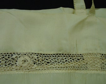 Antique Silk Slip, Under Garment c.1910's Irish Lace Crochet Insert