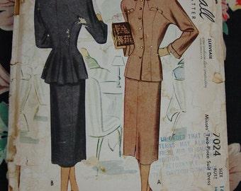 Vintage Pattern c.1947 McCall No.7024 Two Piece Suit, Size 14