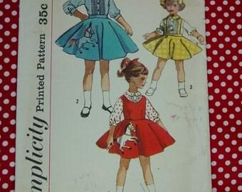 Vintage Pattern c.1957 Simplicity No.2287 Child's Blouse,Jumper,Skirt, Size 4