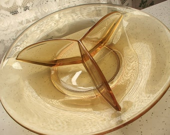 Vintage 1960's Amber Glass Divided dish, Retro glass dish, Glass Snack plate, Mid Century Modern, Thanksgiving, Divided plate