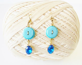 Bright Blue Dangle Earrings, Striped, Button earrings, Dark blue Rhinestones, Preppy Style, Casual ear rings, Pierced, blue & White, Cobalt