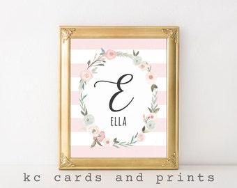 Ella Nursery Name Art Printable - E Monogram Print - Name Art Print - Nursery Printable Wall Art- Baby Name