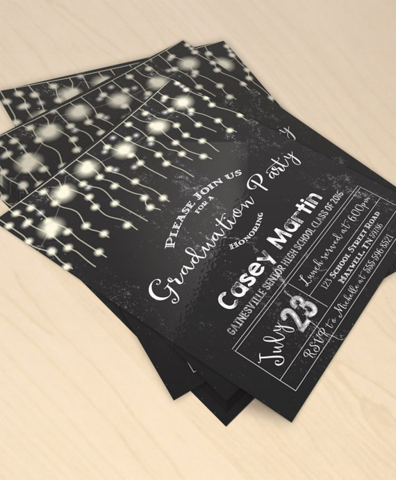 Rustic Chalkboard Printable Graduation Party Invitation - String of Lights, Fairy Lights, Modern ...
