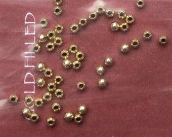 Gold-Filled 2mm Round Beads - 50 Pieces