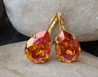 Orange jewelry, Teardrop Earrings, Clementine Earrings, Tangerine Earrings. Swarovski crystal earrings. Neon earrings. Bridesmaid jewelry .
