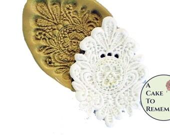 Large fondant cake lace mold medallion, cake decorating silicone mold for romantic wedding cakes or birthday cakes.  M1023