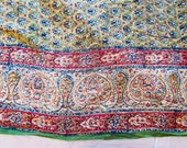 Vintage Indian hand blocked tablecloth bedspread, wall hanging, hippie boho decor, Indian textile