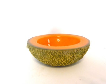 Vintage Ed Langbein original pottery bowl, cantaloupe bowl, made in Italy, Italian mid century art pottery