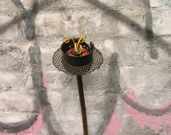 Junk flower, tall metal flower, skateboard wheel, upcycled flower, large vase filler, rebar flower, office decor, lobby decor, flower art