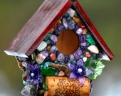 Mosaic Purple Miniature garden bird house with Whimsical Amethyst stones flower and wine corks