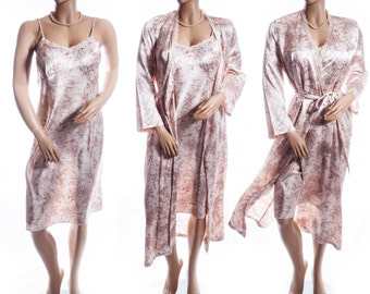 Marks & Spencer shiny champagne floral design polyester and dainty lace detail 90's vintage nightie and negligee robe (complete set) - 3557