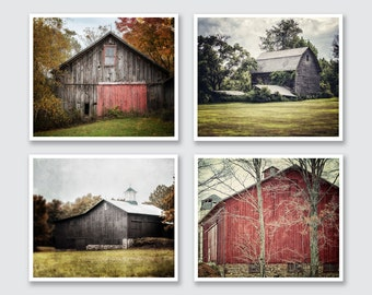 Farmhouse Decor, Rustic Print or Canvas Wrap, Barn Photography, Red and Grey Barn Set, Barn Landscape Photography, Country Decor, Farmhouse.