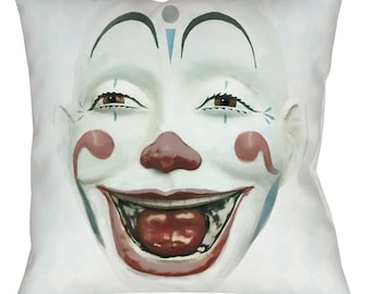 Vintage Style CLOWN FACE Throw Pillow