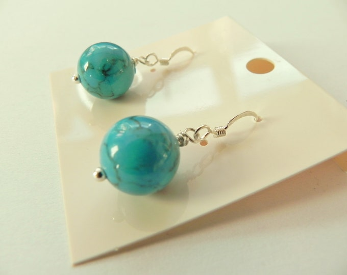 Turquoise dyed jade sterling silver earrings