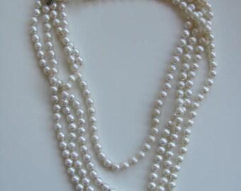"Vintage Pearl Flapper Necklace 90"""