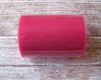 Fuchsia Pink Tulle | 100 Yard Roll, 6 Inch Wide Fuchsia Nylon Tulle | Tutu Tulle