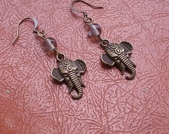 Antique brass elephant earrings with gray glass Czech druk beads