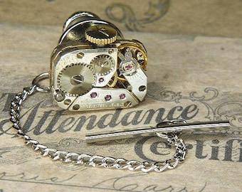 Steampunk Tie Tack/Lapel Pin - Torch SOLDERED - Antique Silver MOVADO Watch Movement w Original Crown - Anniversary Birthday Wedding Gift