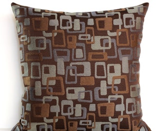 Brown Pillow Cover Blue Grey Geometric Upholstery Decorative Pillow Mid Century Throw Pillow Cover Floor Cushion Euro Sham 26x26 24x24 22x22