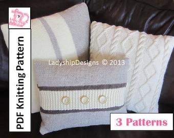 Pillow knitting pattern bundle, cable knit pillow cover and stripes pillow cover - 3 PDF knitting patterns
