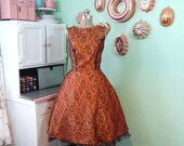 ON SALE Vintage Lace Dress - Orange and Brown Dress - Full Skirt - Large Vintage Dress
