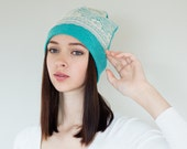 Slouchy Beanie Hat Lace Beanie Turquoise Jersey Knit Beanie Womens Hats Trendy Womens Beanies