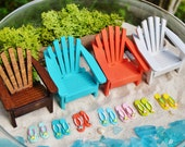 Miniature Adirondack Chair  ~ Terrarium Accessory ~ Dollhouse Miniature ~ Color Choices at Checkout ~ See Link for Beach items shown ~ Small