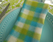Cloth Napkins - Set of Four - Bright Checked Napkins by Pillowscape Designs - Lime Green and Turquoise
