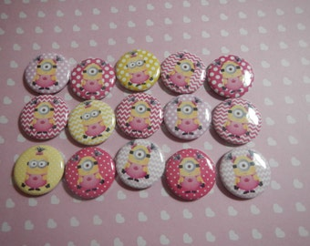 15  Pink Minion Girl Inspired Character Pinback Button Shower Goody Gift Treat  Party Favors Brooches