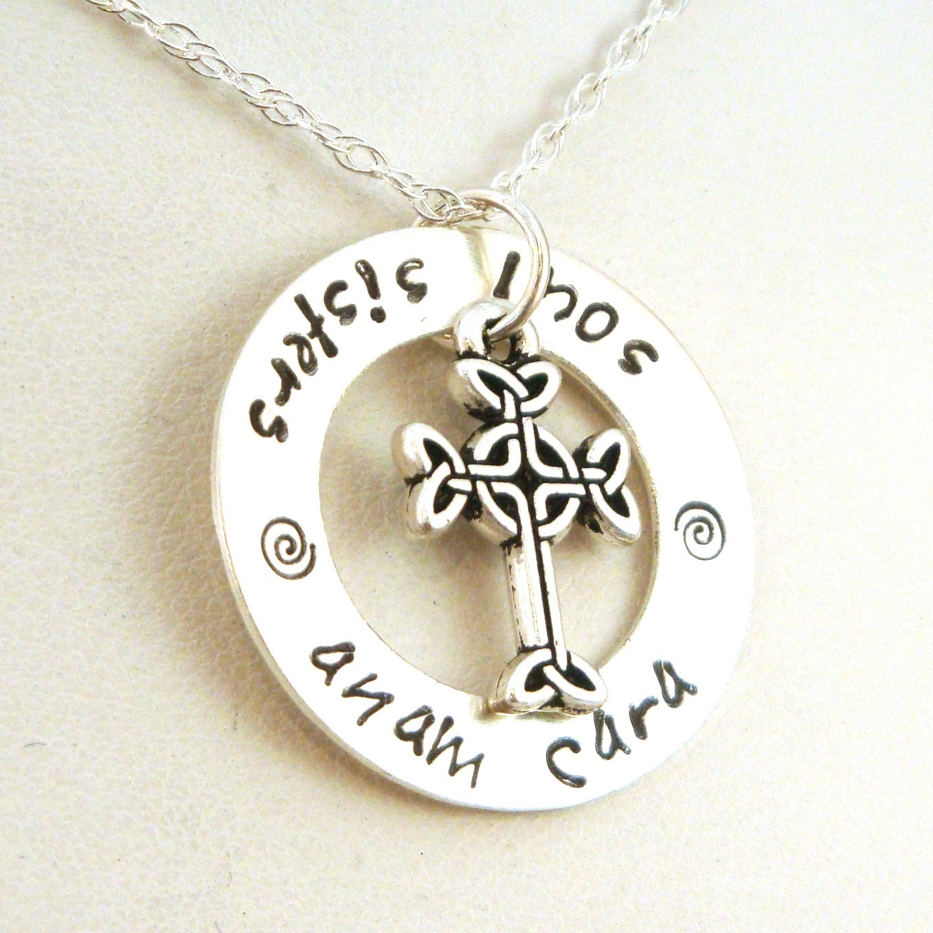 soul sister anam cara necklace with celtic cross anam cara
