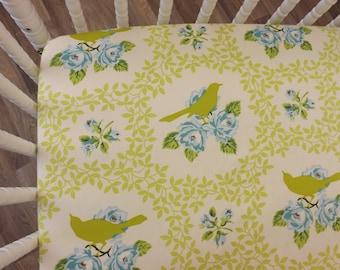 READY TO SHIP--Mockingbird Crib Sheet- Fitted Crib Sheet- Floral Bird Crib Sheet