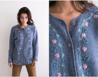Wool Pastel Embroidered Floral Cardigan / Thick Warm Winter Knit Sweater / Long Coat Pink Blue Button Up / Crochet Pink Blue Flower Long