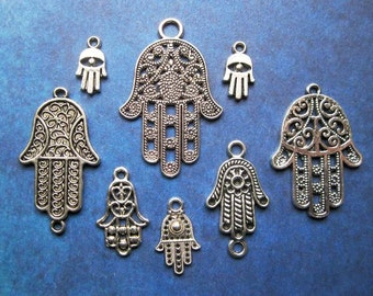 Collection of Hamsa Fatima Hand Charms in Silver Tone - C2366