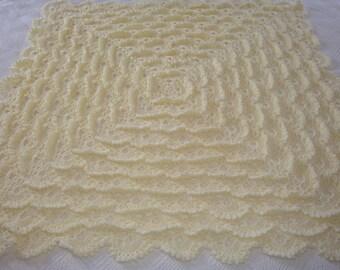 "40"" Square Crocheted Cream Baby Shawl"