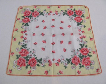 Beautiful White Yellow Floral Cotton Vintage Hankie Handkerchief - New Unused